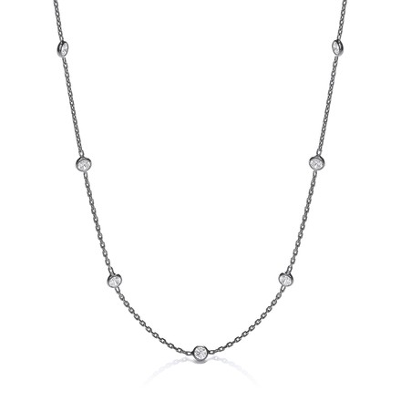 Ruthenium Coated Rubover 11 Cz's Necklace 18""