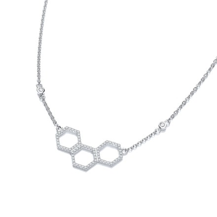 Selling: Honeycomb Style Pendant Silver Cz Necklace