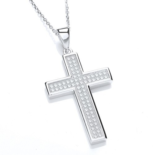 Micro Pave' Cross with Chain
