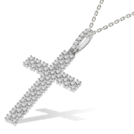 Micro Pave' Multi Row CZ Cross with Chain