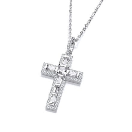 Micro Pave Round & Baguette CZs Cross with Chain