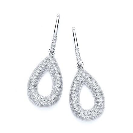 Micro Pave'  Pear Shape Earrings