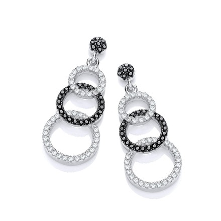 Micro Pave' Black & White CZ Drop Earrings
