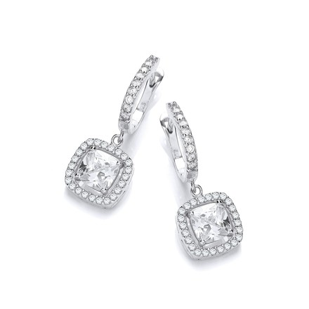 Micro Pave' White CZ Drop Earrings