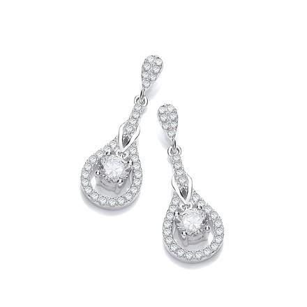Micro Pave' Tear Drop Cz Earrings
