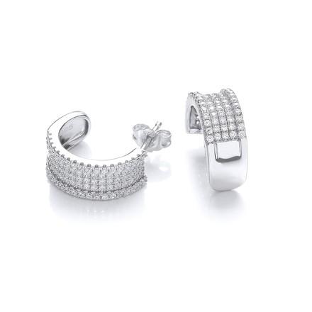Micro Pave' 5 Row Cz Earrings
