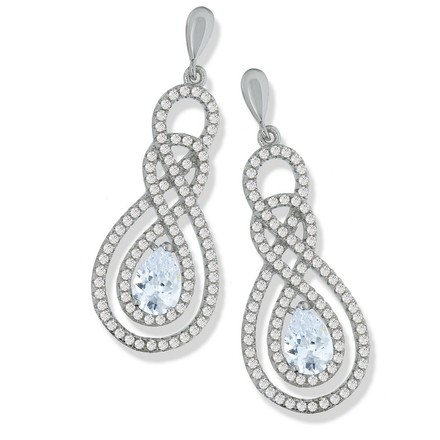 Selling: Micro Pave Swirly Drop Cz Earrings