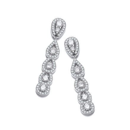 Selling: Micro Pave Tear Drops Cz Silver Earrings