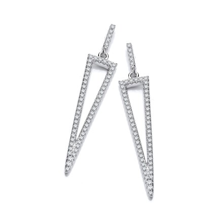 Selling: Micro Pave Cz Triangle Drop Earrings