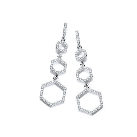 Selling: Honeycomb Style Silver Cz Earrings