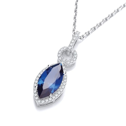 """Selling: Micro Pave' Sapphire & White Drop Pendant with 18"""" Chain"""