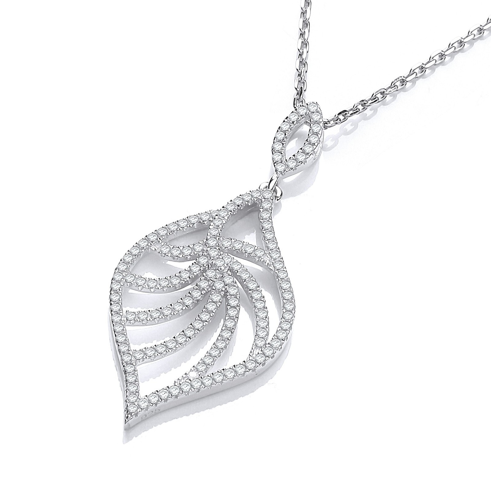"Micro Pave' Leaf Shape Cz Pendant with 18"" Chain"