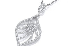 """Micro Pave' Leaf Shape Cz Pendant with 18"""" Chain"""