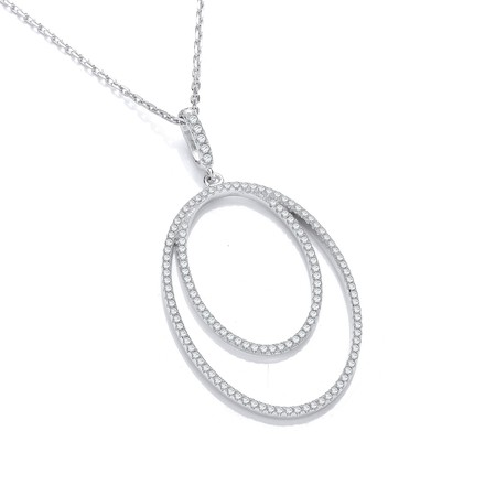 "Micro Pave' Oval Double Row Cz Pendant with 18"" Chain"
