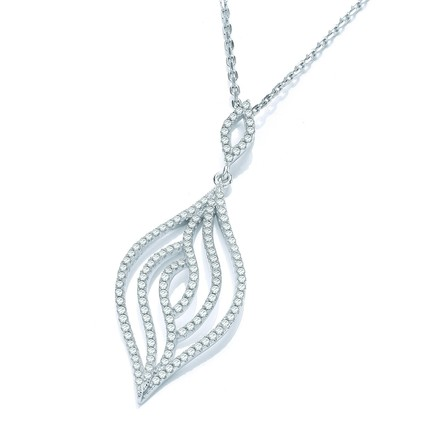 "Micro Pave' Leaf Cz Pendant with 18"" Chain"