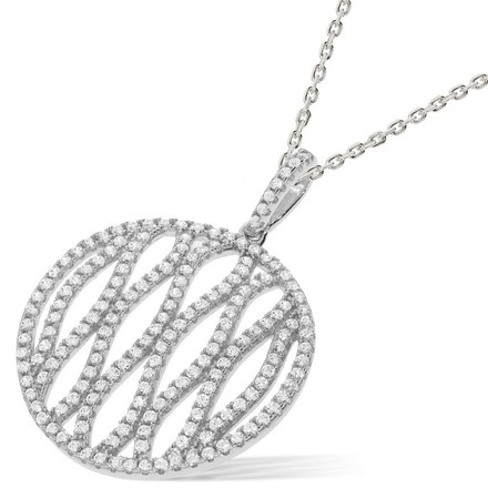 "Selling: Micro Pave Round Fancy Cz Pendant with 18"" Chain"