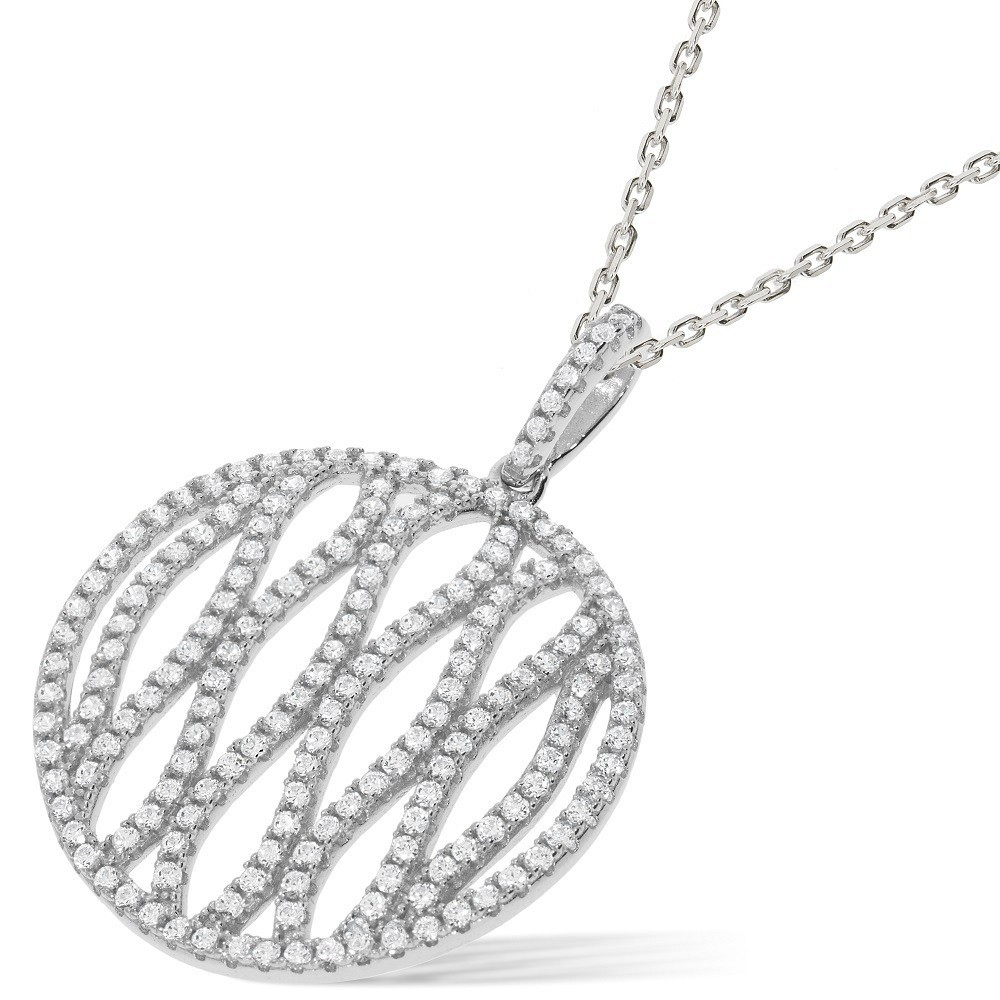 "Micro Pave Round Fancy Cz Pendant with 18"" Chain"