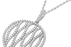 """Micro Pave Round Fancy Cz Pendant with 18"""" Chain"""