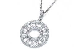 """Selling: Circle of Life Round & Baguette Cz Pendant with 18"""" Chain"""