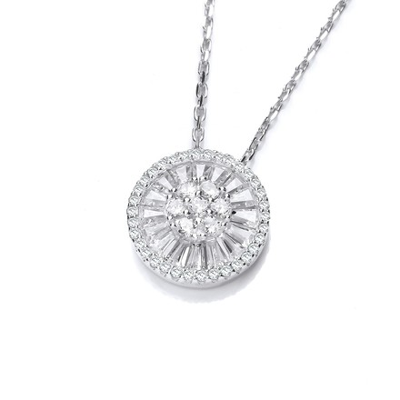 "Micro Pave Cz's Circle of Life Silver Pendant with 18"" Chain"
