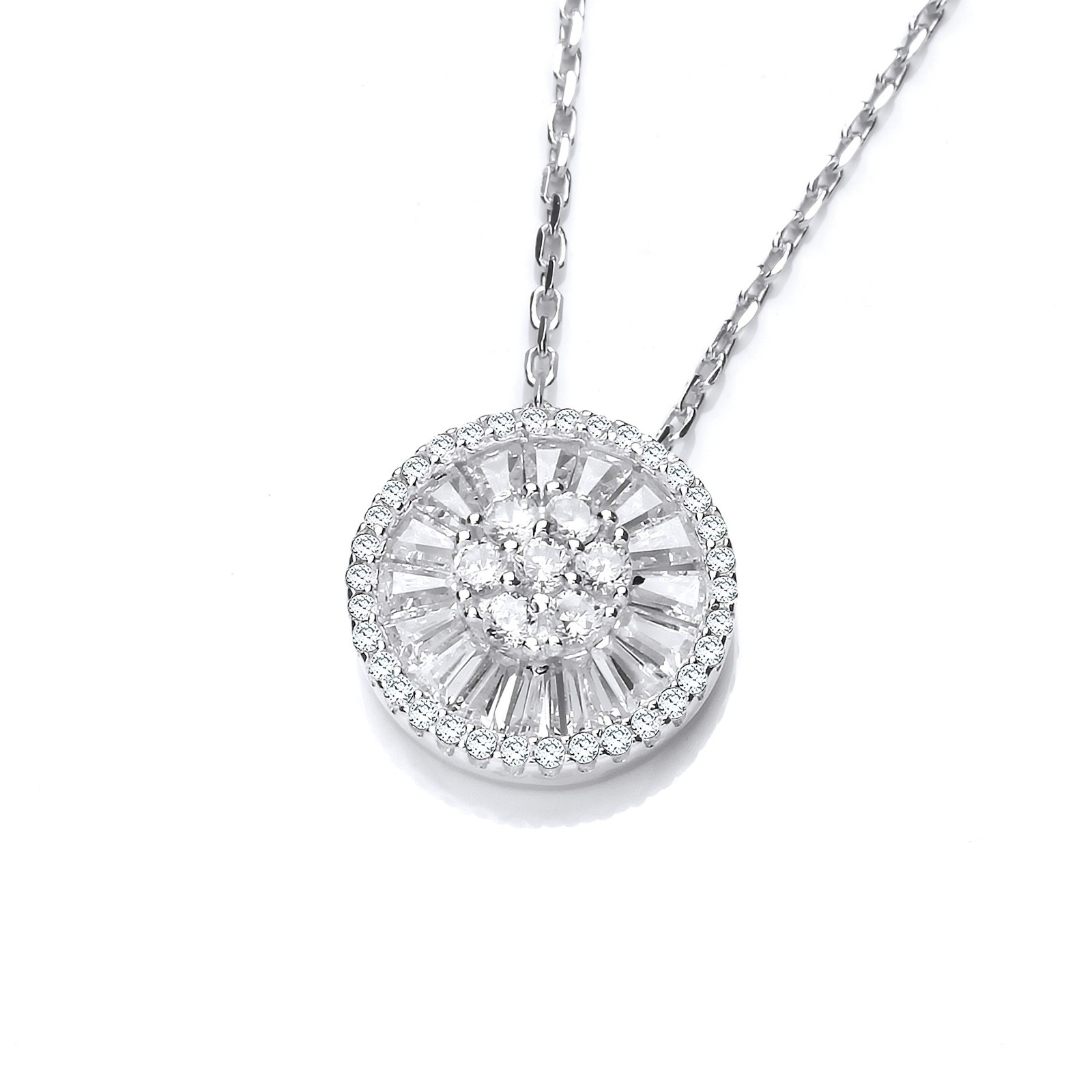 """Micro Pave Cz's Circle of Life Silver Pendant with 18"""" Chain"""