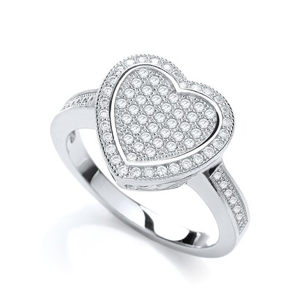 Selling: Micro Pave' Heart Shape 81 Cz & Shoulder Ring