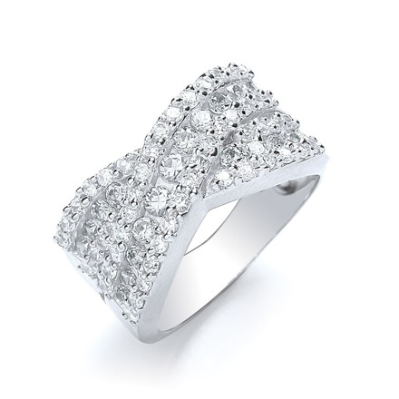 Selling: Cross Over Round Brilliant Cz Ring