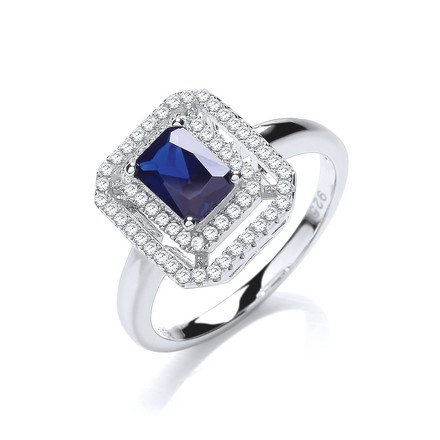 Selling: Micro Pave' Blue Centre Cz Ring