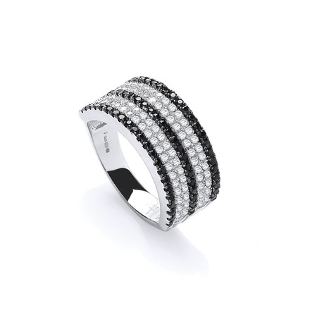 Selling: Micro Pave'  Black & Clear Cz Ring