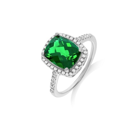 Selling: Micro Pave Emerald Colour Centre Silver Cz Ring