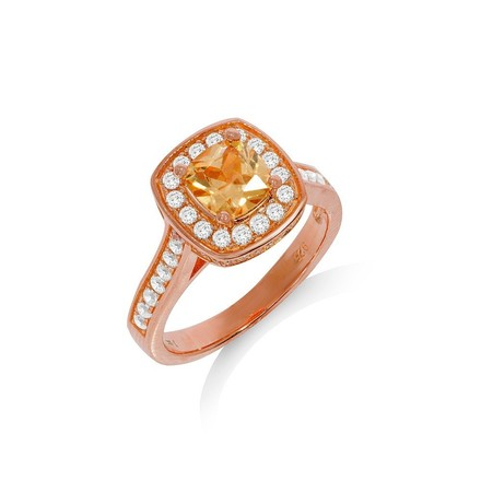 Selling: Micro Pave Rose Coated Champagne Centre Silver Cz Ring