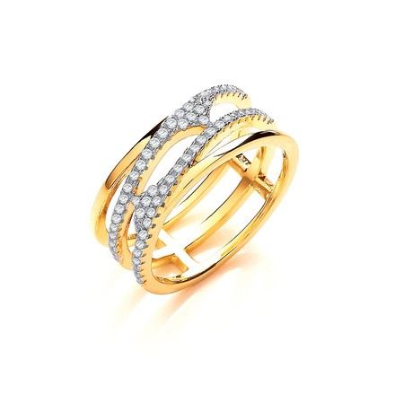 Selling: Yellow Gold Coated Silver, Three Row, Micro Pave Cz Ring