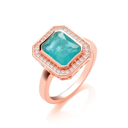 Selling: Green Natural Stone & Glass Emerald Cut RG Plated Silver Ring