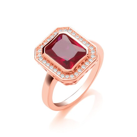 Selling: Red Corundum Emerald Cut RG Plated Silver Ring