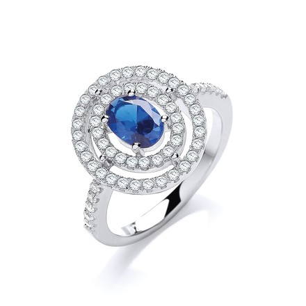Selling: Micro Pave' Sapphire/White Cz Ring
