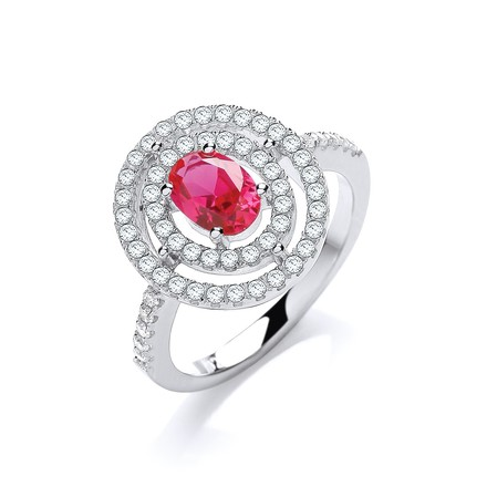 Selling: Micro Pave' Red/White Cz Ring