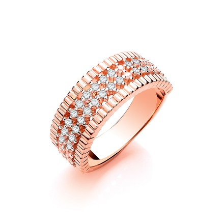 Selling: Rose Coated Silver Two Rows of Cz Ladies Ring