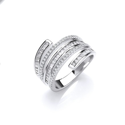 Selling: Silver 5-Layer Baguette & Round Cz's Ring
