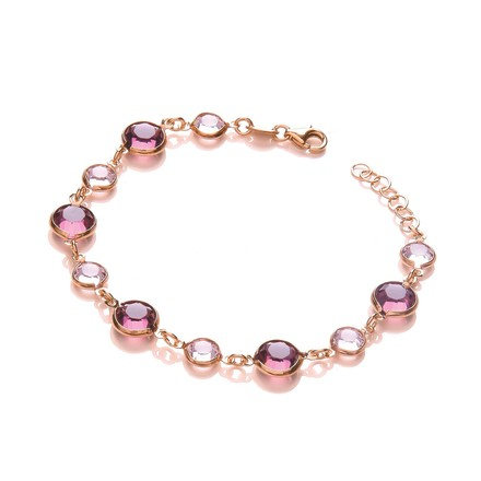 Purple, Pink Swarovski Stones, Silver Rose Coated Bracelet