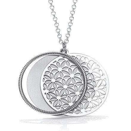 "Round Filigree Pattern with Circle Slider 18"" Necklace"