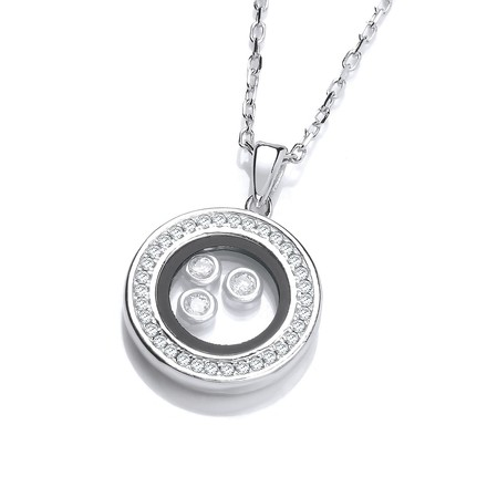 "Circle of Life with Floating CZs Silver Pendant 18"" Necklace"
