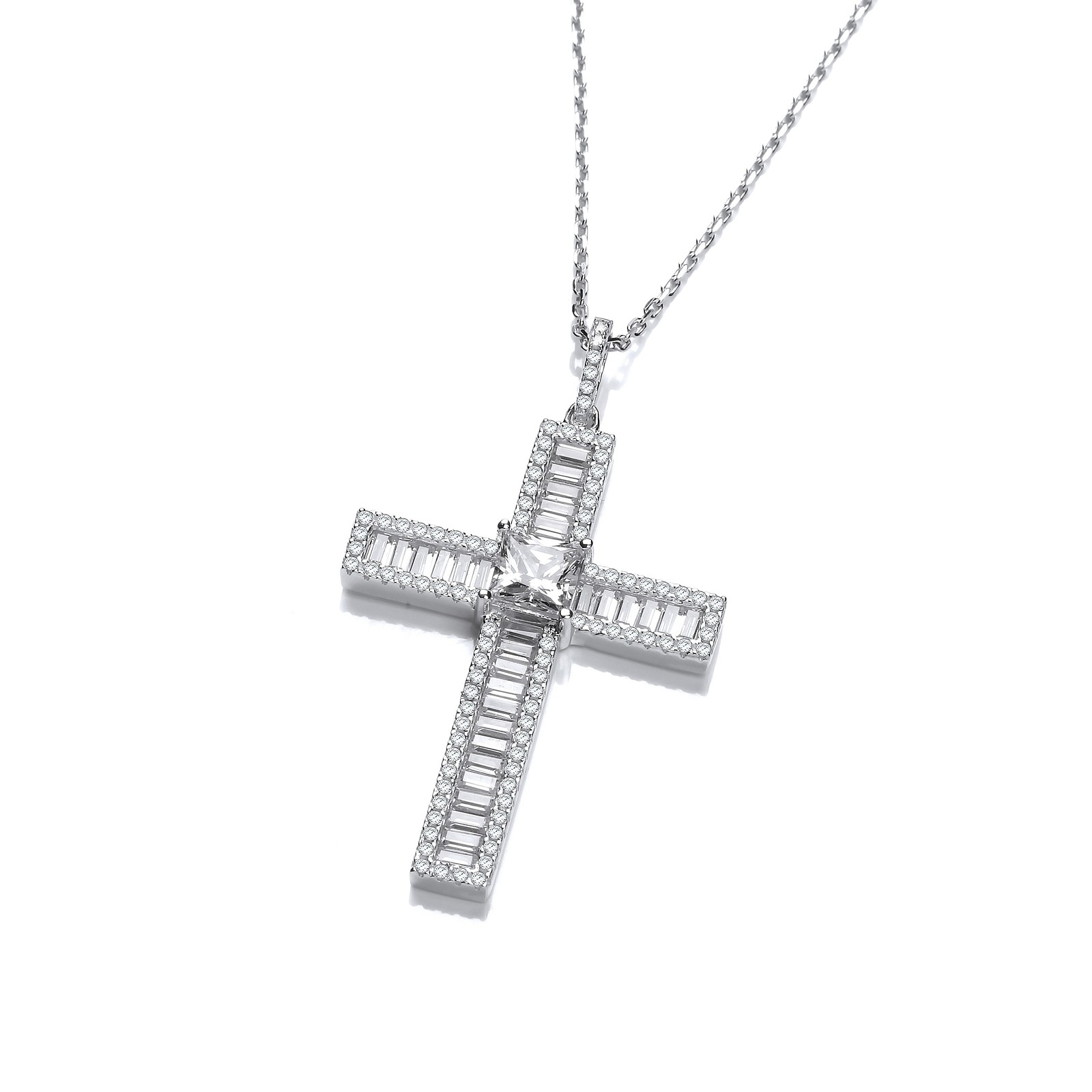 Micro Pave Baguette CZs Cross with Chain