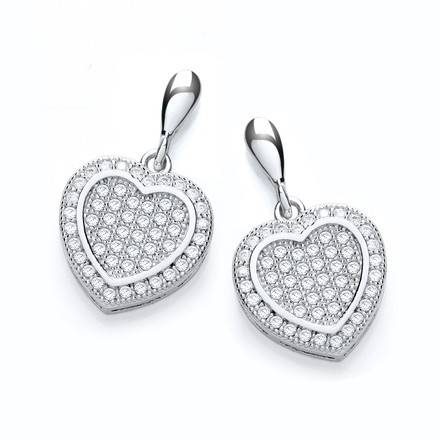 Selling: Micro Pave' Heart Drop Earring