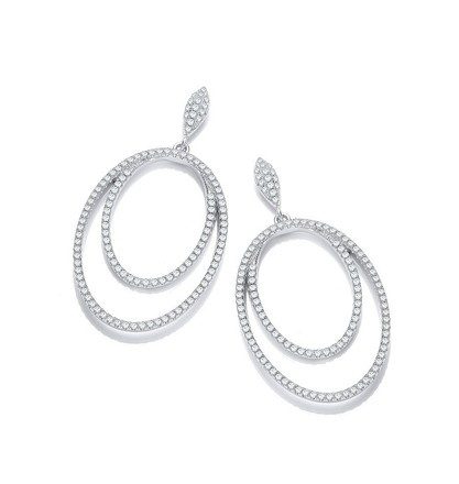 Selling: Micro Pave' Double Oval Drop Cz Earrings