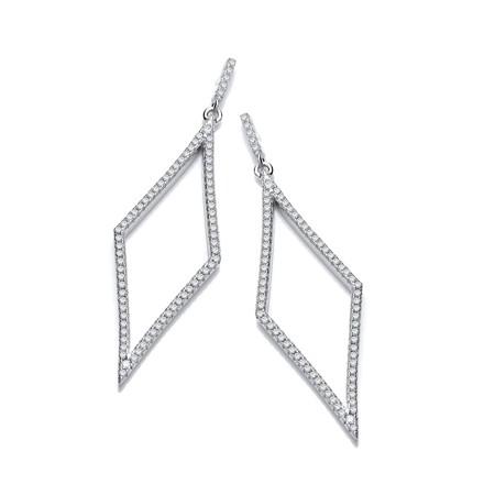 Selling: Silver Diamond Shaped Cz Drop Silver Earrings