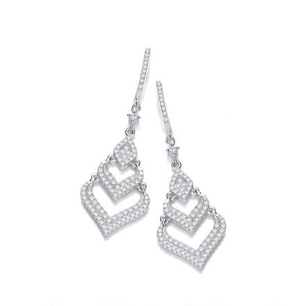 Selling: Fancy Multi Layered Silver Drop Earrings