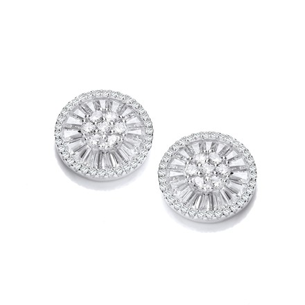 Selling: Micro Pave Cz's Circle of Life Silver Earrings