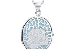 Selling: Oval Rose on Light Blue Background Locket