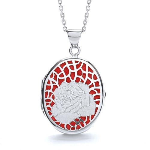 Oval Rose on Red Background Locket