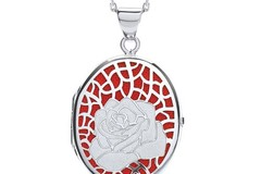 Selling: Oval Rose on Red Background Locket